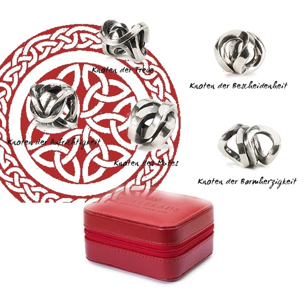 Trollbeads - Knot Collection & Burgundy Travel Box