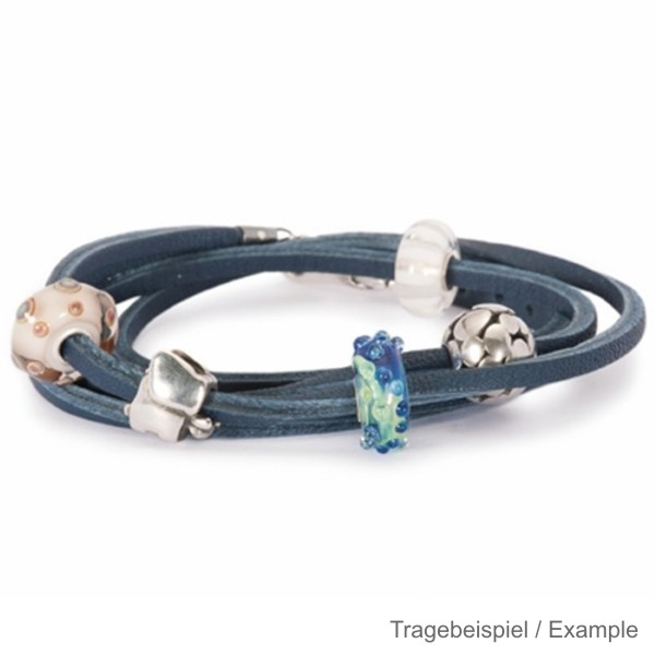 Trollbeads - Starter - Leather Bracelet incl. Lock and Bead PG I - blue