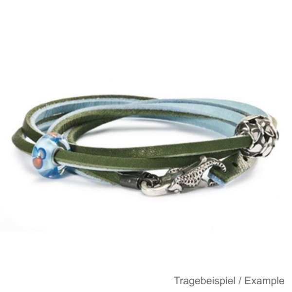 Trollbeads - Starter - Leather Bracelet incl. Lock and Bead PG I - Blue/Green